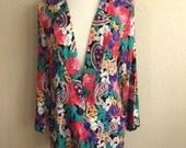 Vintage 80s FLORAL BLAZER / Womens Large Cardigan Style Jacket