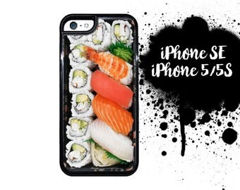 Sushi Bento iPhone 5S SE Case | iPhone 5 Sushi Bento Box Hard Case |Hard Case For iPhone 5 Japanese Sushi Plate Plastic or Rubber Trim