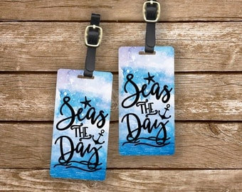 Luggage Tag Set Seas The Day Watercolor Ocean  Metal Luggage Tag Set With Printed Custom Info On Back, 2 Tags Choice of Straps