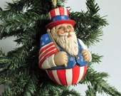 Ceramic Patriotic Santa Christmas Ornament