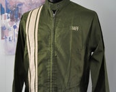60s 70s Racing Stripes Mechanic Jacket by ChampionNylon Coat Indie Staff Camping Nature motorcycle moped scooter Green Army Olive MEDIUM