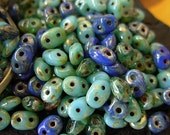 Assorted 2.5x5mm Czech Picasso Superduo 2 Hole Glass Seed Beads (20g) #1CSD