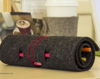 Wool Felt Pencil Case Roll
