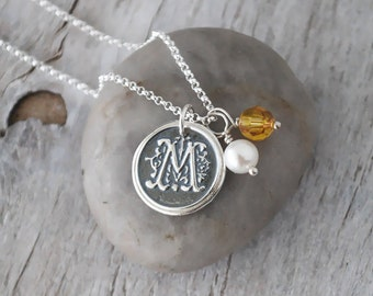 Wax Seal Initial Necklace with Birthstone and Pearl - Personalized Initial Charm, Sterling Silver Chain