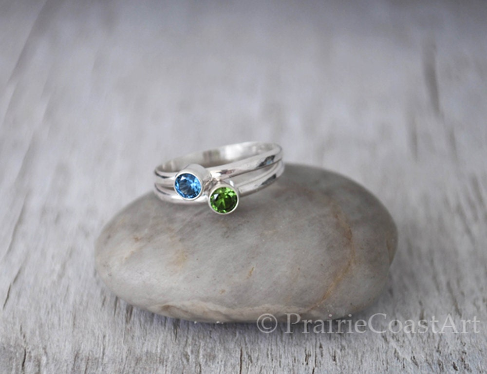 two birthstone rings sterling silver stackable by