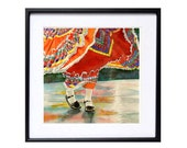 1. Cinco de Mayo / Mexican Dance Art Print / Children dancing / Watercolor painting / Red / Traditional costumes / bright red black / T