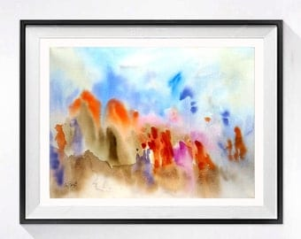 Refugee Fine Art Prints Archival modern Watercolor contemporary abstract artwork Colorful wall decor color field blue and orange, 62