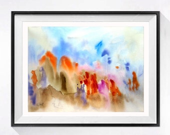 Refugee Fine Art Prints Archival modern Watercolor contemporary abstract artwork Colorful wall decor color field blue and orange A