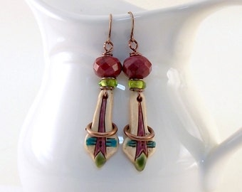 Rustic Ivory Tribal Earrings - Antique Brass Earrings - Artisan Earrings - Boho Earrings - Purple Green and Turquoise - Polymer - AE091
