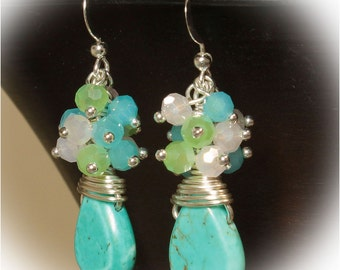 Turquoise Howlite Drop Silver Wire Wrapped Cluster Earrings