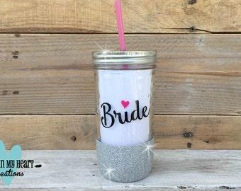 Bride Mason Jar Drink Tumbler with Reusable Straw