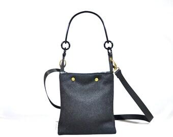 The Shorty Bag. Woman Black Vegan Small size Handbag- Shoulder Black Plastic  handle