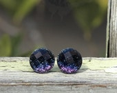 Glitter Stud Earrings, Faceted Cabochons, Black to Purple Ombre, Titanium Posts
