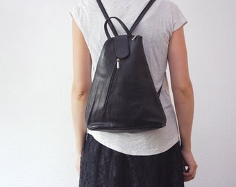 80s 90s leather backpack. minimalist rucksack. black backpack