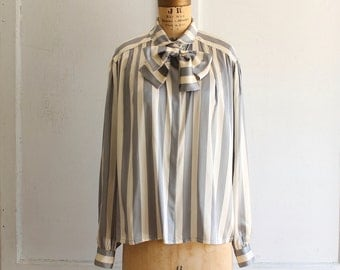 vintage Louis Feraud striped silk bow blouse 80s