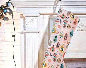 Christmas Stocking // Retro Ornament Pattern // Christmas Decor // Retro Style // Holiday Decorating // Decorated Blush Pink Design