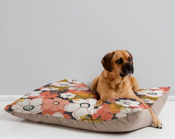 Floral Dog Bed Pillow // Pet Bedding // Animal Pillow // Modern Pet Bedding // Petals & Pods Design // Black and Coral Floral Print