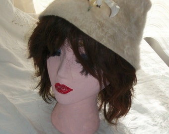 Vintage Off White Angora Rabbit Fur Cloche Torque Hat One Size Nice and Warm and Soft Unique