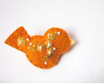 """Handmade Felt Bird Brooch or Pin In orange with yellow, white and green Embroidered and Beaded Embellishments  -shawl or scarf pin 2.75x1.5"""""""