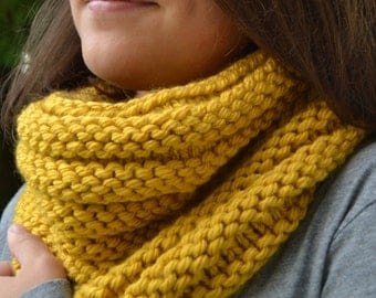 Hand Knit Cowl Infinity Scarf, BOSSO - MUSTARD Ribbed Neckwarmer (G2P1132)