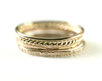 Set of 4 thin Gold stacking rings - Light weight -14kt gold fill, twist ring, hammered rings, Stacking ring set, Gold Stack set