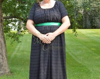 Black Mourning Jane Austen Regency cotton day Round Gown Dress