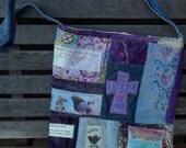 "Mixed Denim Fabric Patchwork Bag ""Walk by Faith"" ,Sling Bag, Handmade Tote, Eco-Friendly bag, Shoulder Bag, Denim and purple, Crossbody"