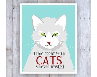 Cat Art, Cat Print, Digital Print, Cat Wall Decor, Cat Decor, Grey Cat, Funny Cat Gifts, Cat Lover Gift,  Sigmund Freud Quote , Cat Poster