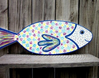 Painted Fish, Colorful Fish, Tropical Fish, Wood Fish, Beach Decor, Hand Painted Fish, Nautical Decor, Beach House Decor, Childrens Room