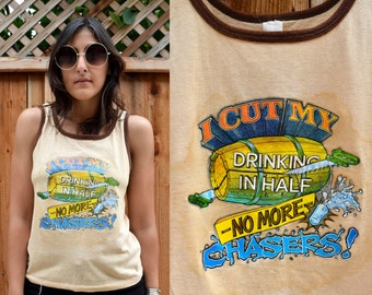 Vintage 1981 DRINKING Summer PARTY TANK Tee S