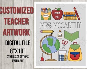 "Custom 8""x10"" Teacher Sign Printable Digital Wall Art Artwork Thank you Teacher Appreciation Digital Printable"