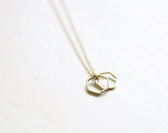 Gold Brass Minimal Hexagon Necklace   Geometric Necklace   Layered Boho Necklace   Small Necklace   Geometric Jewelry   Hexagon Jewelry