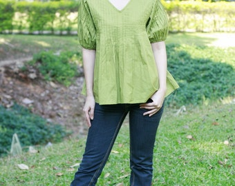 SALE 25 USD--B162--Beautiful Cotton Blouse with pleats