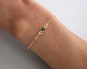 Delicate Blue Onyx bracelet - gold filled - single gemstone - gold chain bracelet