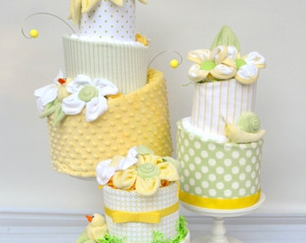 Diaper Cake Decor, Diaper Cake Centerpieces, Neutral Baby Shower Decor, Shower Centerpiece Neutral, Shower Decor Neutral, Yellow Shower