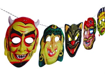 Vintage Halloween Garland,  2-D Funny Masks - Photo Reproductions on Felt