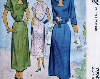 UNCUT * 1950 McCall Pattern 7994 - Beautiful Ladies' Dinner or  Day Dress with Keyhole Neckline *  Size 20..bust 38