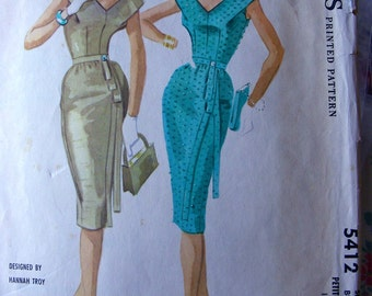 1950's McCall's Sewing Pattern 5412 * Plunging V neck PARTY DRESS by Designer: Hannah Troy * Size 12P * Bust 33