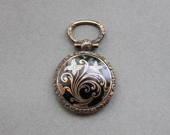 Large Victorian Enamel Mourning Locket with Gold Pique Flowers