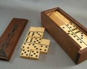 Vintage Dominoes w/ Wood Storage Box Marked SIMON, Games, Vintage Dominoes, Folk Art Box, Dominoes, Board Games, American Dominoes,