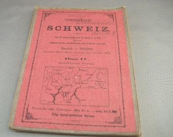 Antique 19th century Swiss Travel Map, Swiss Linen Pocket Travel  Maps, SCHWEIZ Folding Maps, 19thc. Maps, European Maps,Switzerland 19th C.
