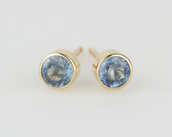 Dainty Natural Blue Sapphire 14k Yellow or White Gold Stud Earrings - Solid Gold Post Pair - Genuine Sapphire September Birthstone