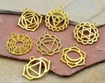 Chakra Pendants, 7 pcs, Gold Tone  Chakra Charms,   Symbols of Chakra -C786