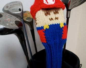 Super Mario, Golf Headcover, Golf Club Cover, Mario Cart, Mario Kart, Mario Brothers, Knit Golf Cover, Nintendo, Gameboy, Playstation