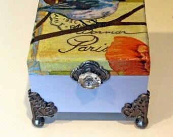 Wood Jewelry Box, Keepsake Box, Decoupaged Trinket Box