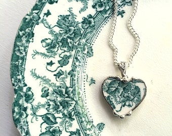 Broken china jewelry - broken china jewelry heart pendant necklace, antique teal iris English transferware recycled china