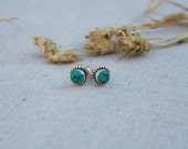 Sterling Silver Turquoise Stud Earrings - Blue stud earrings - Turquoise earrings - Turquoise jewellery -Turquoise jewelry - Turquoise studs
