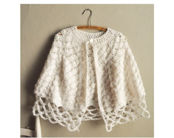Vintage White lacy Crocheted Shawl / Wrap /  Poncho / Cape