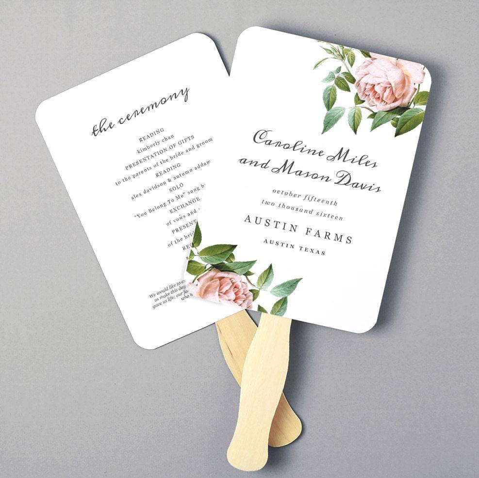 Printable fan program fan program template wedding fan template vintage botanical diy in for Wedding fan template