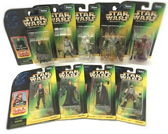 Vintage Star Wars Figures, Star Wars Gift, Princess Leia, Luke Skywalker, Dark Horse Comic Book Toys, Set of 9 Figures with Display Dioramas